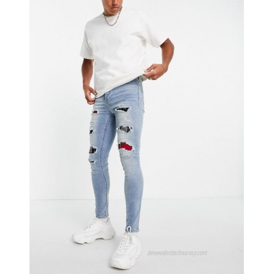Sixth June distressed jeans with tartan detailing in blue