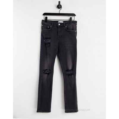 DESIGN stretch slim jeans with rips in washed black