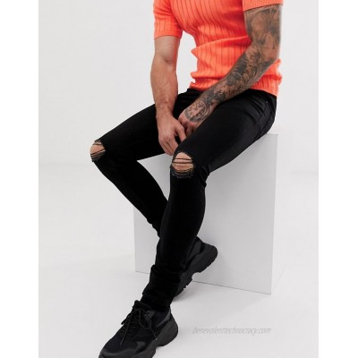 DESIGN super skinny jeans with knee rips