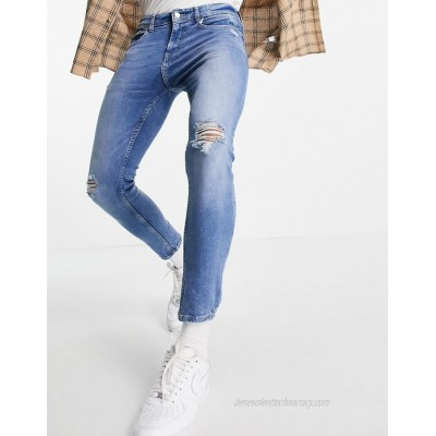 Pull&Bear premium super skinny fit jeans with rips in light blue