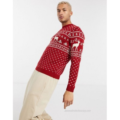DESIGN knitted christmas sweater in red reindeer design