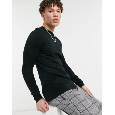 DESIGN knitted crew neck sweater in black