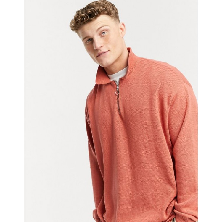 DESIGN knitted midweight zip polo sweater in apricot