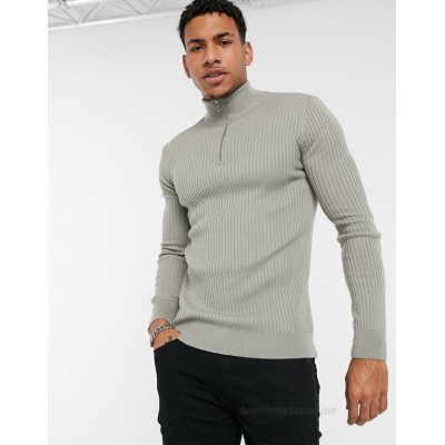 New Look muscle half zip knitted sweater in gray