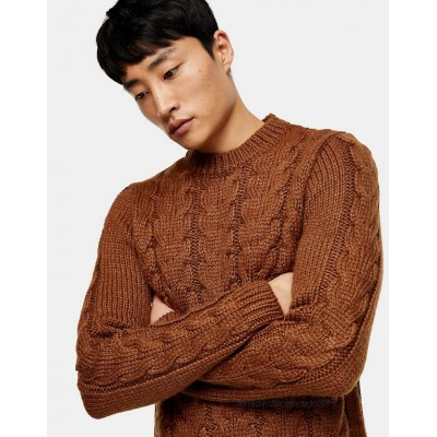 Topman cable knit sweater in brown