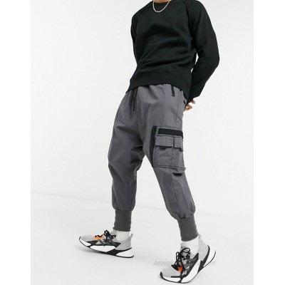 DESIGN drop crotch trousers with MA1 pocket and jersey cuff