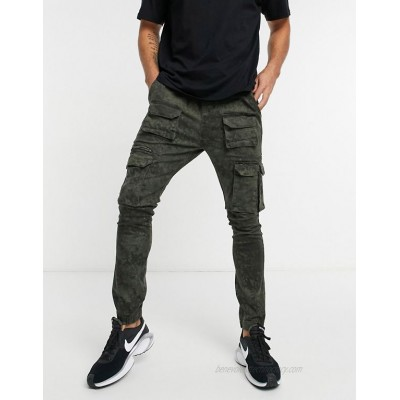 Good For Nothing cargo pants with pockets in washed green