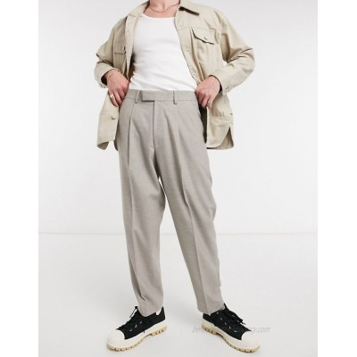 DESIGN oversized tapered smart pants in gray flannel