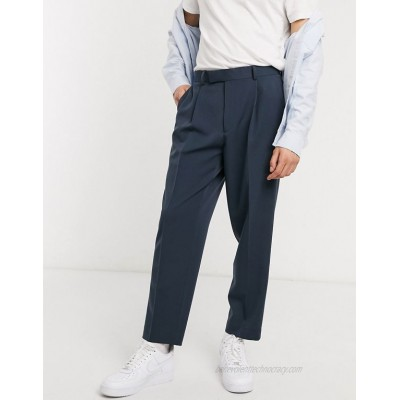 DESIGN oversized tapered smart pants in navy