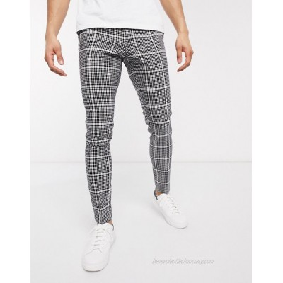 DESIGN smart super skinny pants in black wool mix check and side adjusters