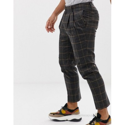 DESIGN tapered smart pants in wool mix check