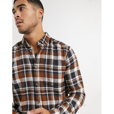 Only & Sons plaid shirt in brown