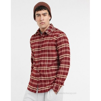 Topman brushed checked shirt in burgundy