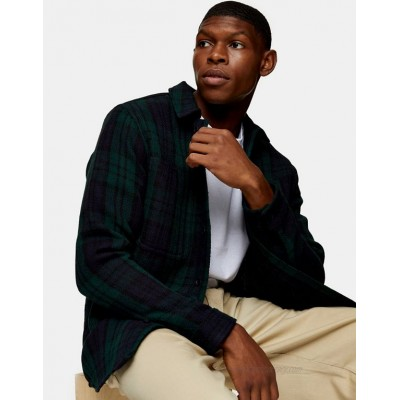 Topman overshirt in navy and green plaid