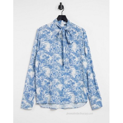 DESIGN regular shirt with pussybow neck tie in floral print