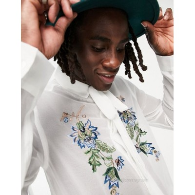 DESIGN satin shirt with chest embroidery and tie neck in white