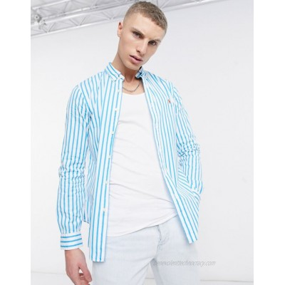 Polo Ralph Lauren player logo sueded 80's poplin stripe shirt slim fit button down in turquoise/white