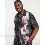Twisted Tailor Plus revere collar shirt with torn paper floral print in black