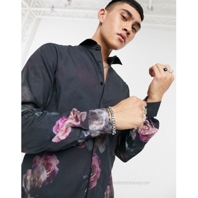 Twisted Tailor shirt with floral fade print in black