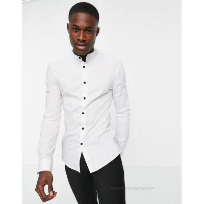 DESIGN muscle fit shirt with grandad collar in white
